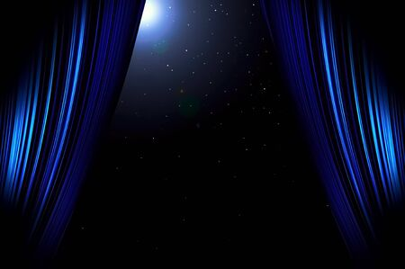 Blue curtain on moonlight and the stars at night.