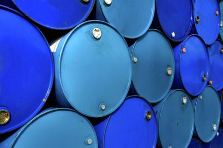 Fuel tanks  stacked in a row . Stock Photo