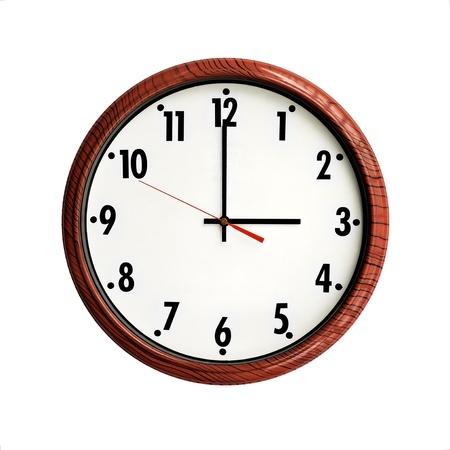arabic numerals:  Clock wood grain frame with arabic numerals Stock Photo