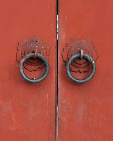 traditional asian old doors of temple chinese.