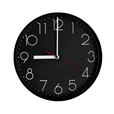 analog:  Black clock plastic frame with arabic numerals.