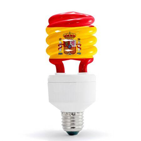 Spanish flag on energy saving lamp on white background.