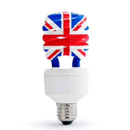 UK flag on energy saving lamp on white background.