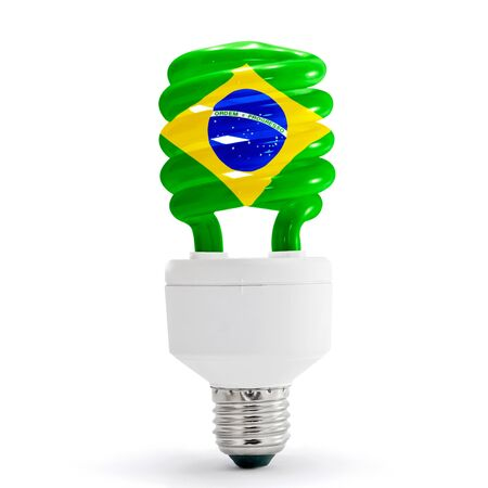 Flag of the Brazil on energy saving lamp isolated on white. Stock Photo