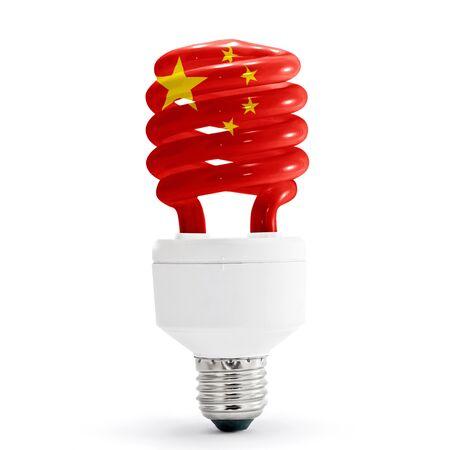 Flag of the China on energy saving lamp isolated on white. Stock Photo