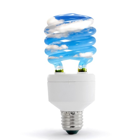 saving energy: Sky, clouds, in energy saving lamp on white background. Stock Photo