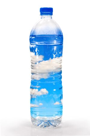 Sky, clouds, and pure air in plastic water bottles.