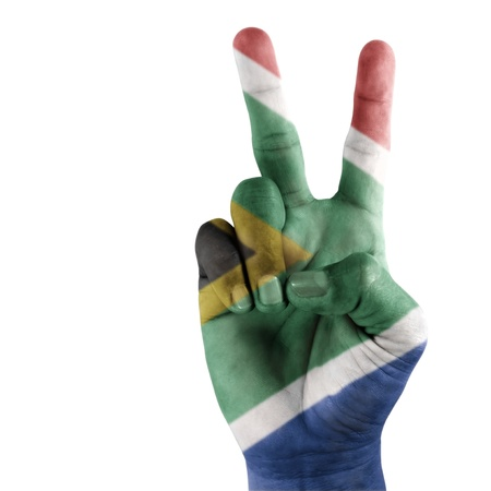 South Africa flag on hand with a white background