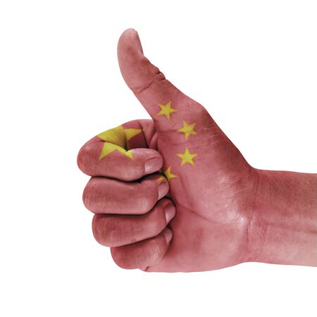 Flag of the china on men hand with a white background