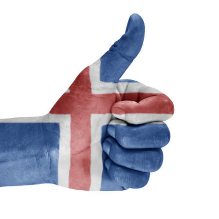 Iceland flag on hand with a white background