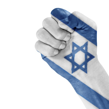 Israel flag on hand with a white background  Stock Photo