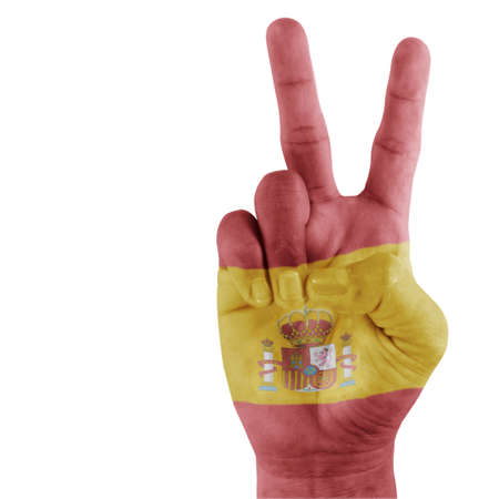Spanish flag on hand with a white background  Stock Photo