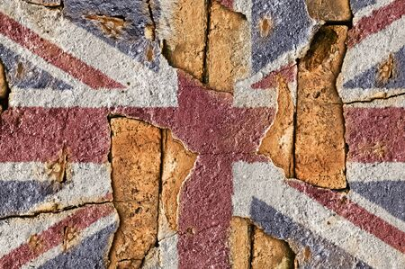 United Kingdom flag on the old wall cement