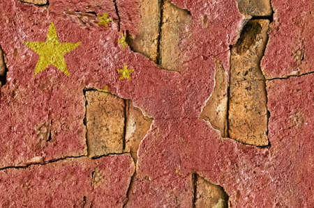 Flag of China on the old wall cement