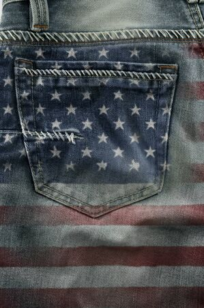 Jeans back pocket on pattern flag America  photo