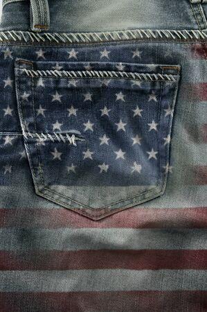 blue jeans:  Jeans back pocket on pattern flag America