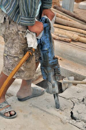 Road Construction With Pneumatic Drill   photo