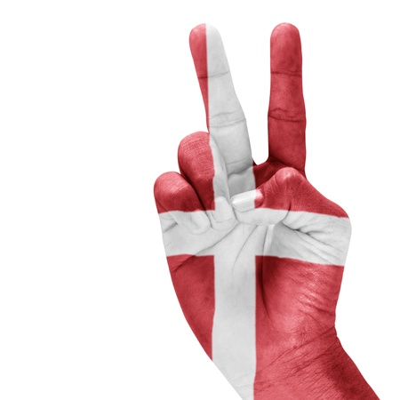Denmark  flag on hand  with a white background