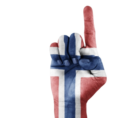 Norway flag on hand with a white background  photo