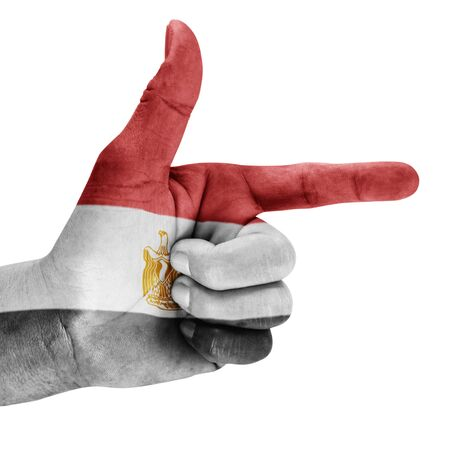 Egypt flag drawn on shoot hand gesture with white background