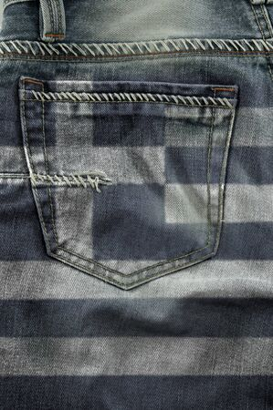 Jeans back pocket with pattern flag greece. photo