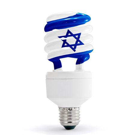 Israel flag with energy saving lamp on white background