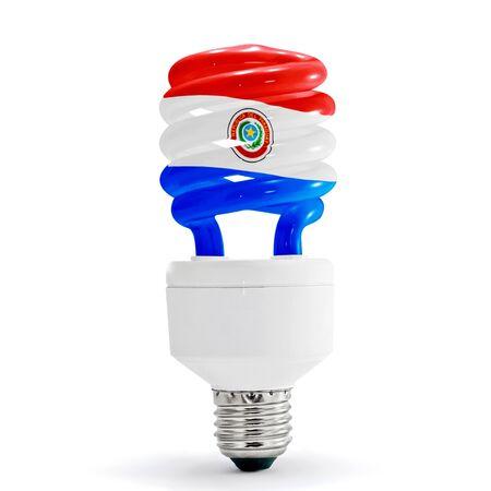 bandera de paraguay: Paraguay, marca con l�mpara de ahorro de energ�a en el fondo blanco