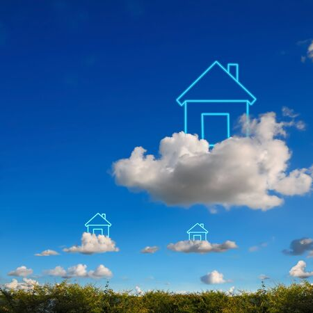My house on cloud and blue sky background  photo