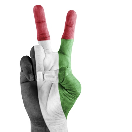 United Arab Emirates flag on Successful hand on white background. photo