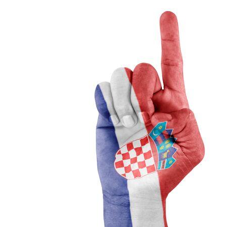 bandiera croazia: Croazia bandiera disegnata sul gesto della mano di ripresa con sfondo bianco.