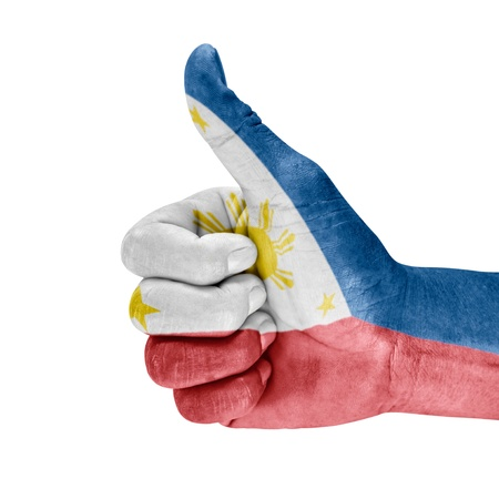 Philippines flag on thumb up hand with a white background.