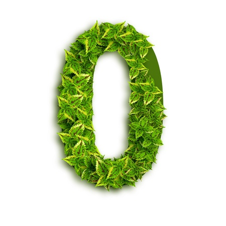 Alphabet number 0 with leaves on an isolated white background. Stock Photo