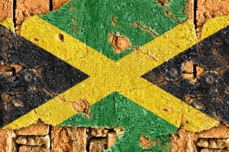 jamaican flag:  Flag jamaica on old cement wall