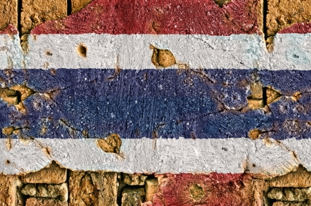 Grunge flag of thailand on old wall background  photo