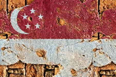 singaporean flag: Grunge flag of Singapore on old wall background