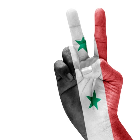 Syria flag on victory hand with a white background.
