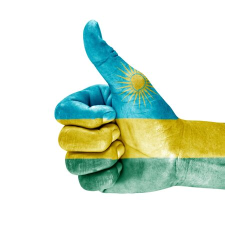 Rwanda flag on thumb up hand with a white background.