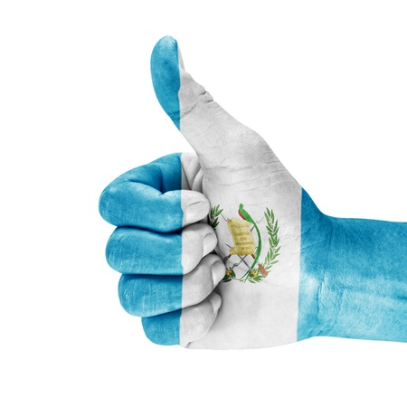 Guatemala flag on thumb up hand with a white background.