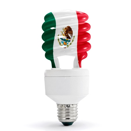 Mexico flag with energy saving lamp on white background.