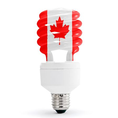 Flag of Canada with energy saving lamp on white background.