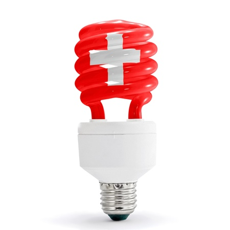flag of switzerland with energy saving lamp on white background. Stock Photo