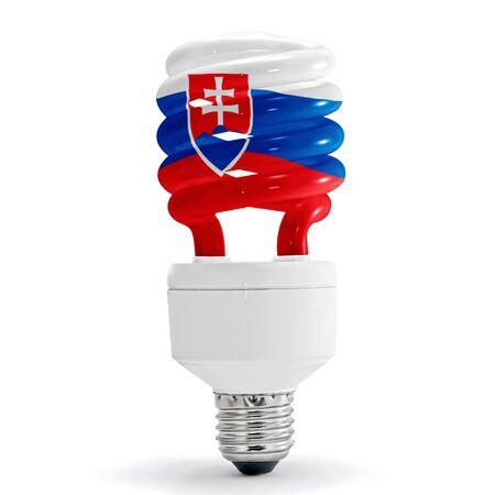 Flag of Slovakia with energy saving lamp on white background. Stock Photo
