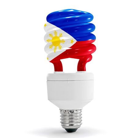 Flag of the Philippines with energy saving lamp on white background. photo