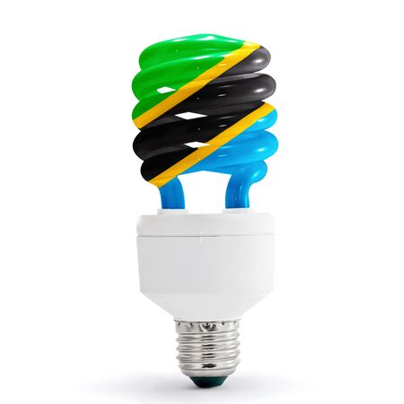 Flag of Tanzania with energy saving lamp on white background. Stock Photo