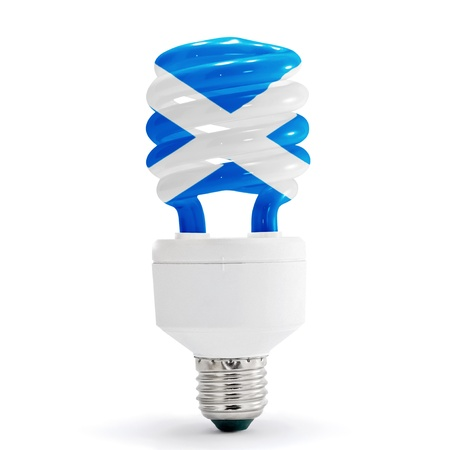 Flag of Scotland with energy saving lamp on white background.