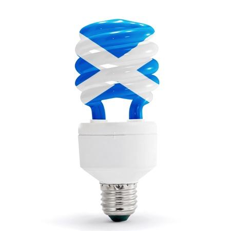 Flag of Scotland with energy saving lamp on white background.