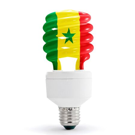 Flag of Senegal with energy saving lamp on white background.