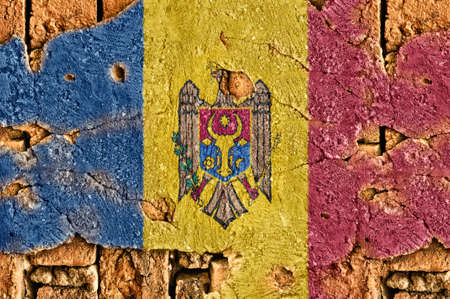 Grunge flag of Moldova on old wall background. Stock Photo - 17418840