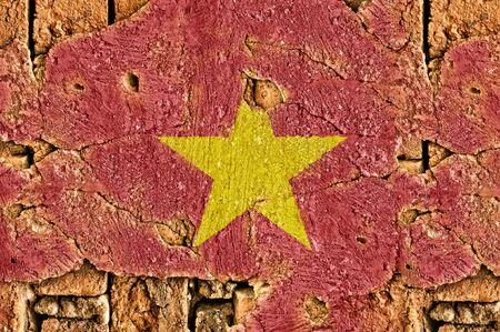 Grunge flag of Vietnam on old wall background. Stock Photo - 17418841