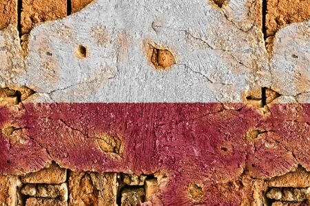 Grunge flag of Poland on old wall background. photo